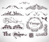 Wektorowa zestaw: elementy projektu kaligraficzne i strony dekoracji — Wektor stockowy