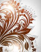 Fondo floral dibujado mano con flores, saludo tarjeta de vector de diseño retro — Vector de stock