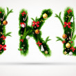 J, k and l letters vector christmas tree font - Vettoriali Stock