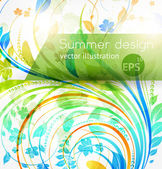 Květinové letní designové prvky s sun shine — Stock vektor