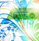 Floral summer design elements with sun shine — Vector de stock