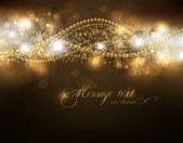 элегантные волшебный золотой фон с местом для текста приглашения. с звездами солнце светить и искр — Cтоковый вектор