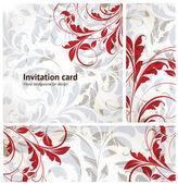 Invito d'epoca completa scheda impostata con sfondo trasparente con foglie e fiori per design retrò. — Vettoriale Stock