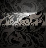 Fondo floral sin fisuras con el patrón de flores para el diseño de papel pintado, negro — Vector de stock