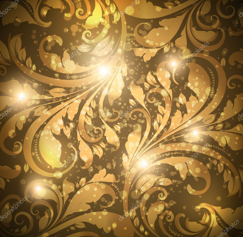 Seamless floral background with flowers pattern for for Gold wallpaper designs