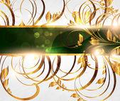 Yaz beyaz altın kartı sorunsuz süsleme, arka plan ve güneş Parlatıcı ile — Stok Vektör