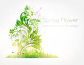 Summer vector grass wallpaper with flowers, ladybird, drops and sun shine — Stock Vector