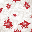 Seamless Wallpaper, Vector Background with leafs and red flowers for retro design. — Stock Vector