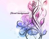 Mano dibujado fondo floral con flores, saludo tarjeta de vector de diseño retro — Vector de stock