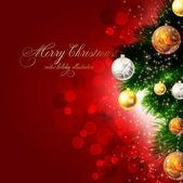 Kerstmis achtergrond met kerstballen en kerstboom — Stockvector
