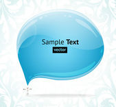 Abstract glossy speech bubble vector background with snowman and winter ornament. — Stock Vector