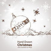 Christmas vintage background with retro hand drawn balls for xmas design — Stock Vector