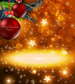 Christmas background with baubles and christmas tree — Vecteur