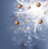 Fondo de navidad con adornos y árboles de navidad — Vector de stock