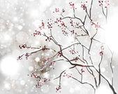 Resumen tarjeta de navidad con copos de nieve blancas, árbol y luces — Vector de stock