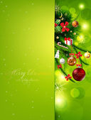 Christmas background with baubles and christmas tree — Cтоковый вектор
