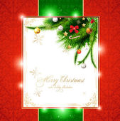Christmas background with baubles and christmas tree — Vetorial Stock