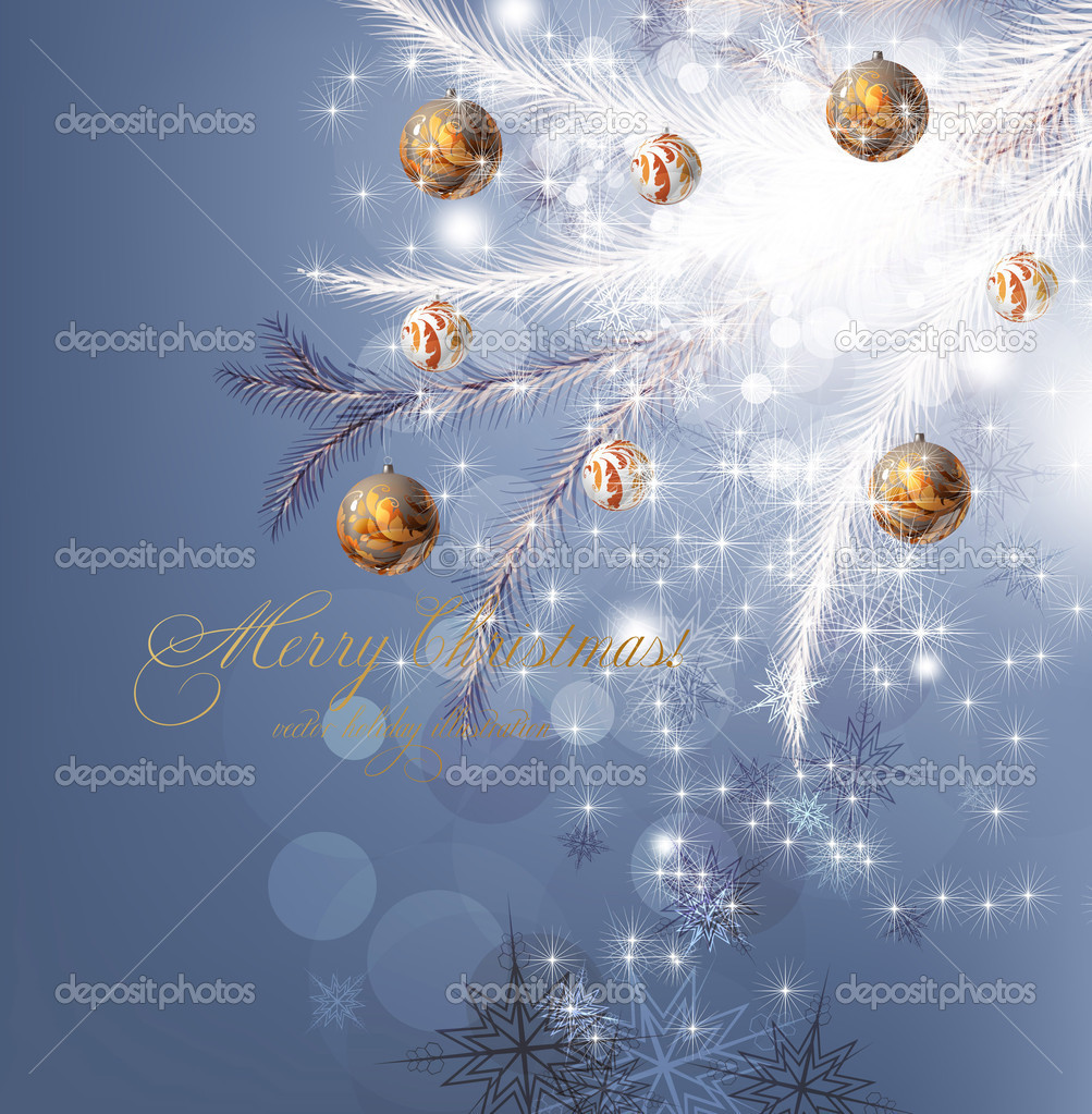 Christmas background with baubles and christmas tree — Stock Vector #15871289