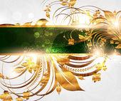 Letní bílé Zlatá karta s bezproblémovou ornament na pozadí a slunce svítí — Stock vektor