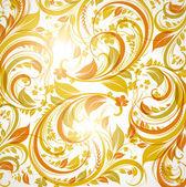 与花卉装饰与棕色无缝壁纸枫叶和鲜花的复古设计 — 图库矢量图片