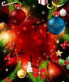 Christmas background with baubles and christmas tree — Stock Vector