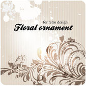 Hand Drawn floral background with flowers, greeting vector card for retro design — Vector de stock