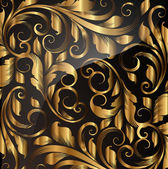 Seamless wallpaper pattern gold, vector — Stok Vektör