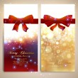 Xmas greeting cards with red bows and glow snowflakes for Christmas design. — Stock Vector