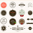 Royalty-Free Stock Vektorfiler: Christmas decoration collection. Set of calligraphic and typographic elements, frames, vintage circle labels, ribbons, borders, holly berries and snowflakes.