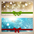 Stock Vector: Xmas greeting cards with red and green bows and copy space.