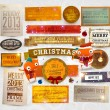 Set of vector Christmas ribbons, old dirty paper textures and vintage new year labels. — Stock Vector #16107423