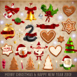Set of vector Christmas ribbons, old dirty paper textures and vintage new year labels. - Stock vektor