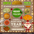 Set of vector Christmas ribbons, old dirty paper textures and vintage new year labels. — Vector de stock  #16107823