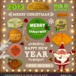 Set of vector Christmas ribbons, old dirty paper textures and vintage new year labels. — Vecteur