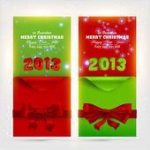 Weihnachten grußkarten mit roten bögen und gelockt ecke papier für weihnachten design. — Stockvektor