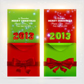 Greeting Christmas cards with red bows and curled corner paper for Xmas design. — Stock Vector