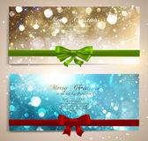 Cartões de natal com laços vermelhos e verdes e espaço de cópia. — Vetor de Stock