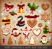 Set of vector Christmas ribbons, old dirty paper textures and vintage new year labels. — Stock Vector