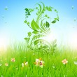 Summer vector grass wallpaper with flowers, ladybird, drops and sun shine. — Stock Vector