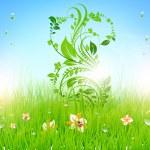 Summer vector grass wallpaper with flowers, ladybird, drops and sun shine. — Stock Vector