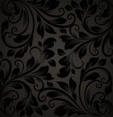 Seamless floral background with flowers pattern for wallpaper design, black — Stock Vector