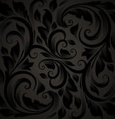 Seamless floral background with flowers pattern for wallpaper design, black — Stockvector