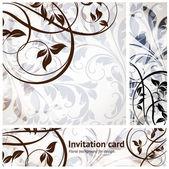 Cartão de convite vintage completo conjunto com fundo transparente com folhas e flores para design retro. — Vetorial Stock