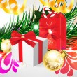 Christmas background with baubles and christmas tree - Imagens vectoriais em stock