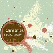 Retro christmas banner with fur tree branch and floral ornament for vintage card design — Stock Vector