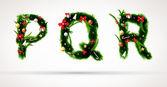 P q r, векторный шрифт Рождественская елка — Cтоковый вектор