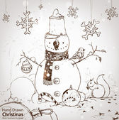Christmas card for xmas design with fur tree, snowflakes, ball, bird, squirrel and hand drawn snowman. — Stok Vektör