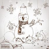 Julkort för xmas design med päls träd, snöflingor, boll, fågel, ekorre och hand dras snögubbe. — Stockvektor