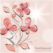 рука нарисованные цветочный фон с цветами, открытки вектор для ретро-дизайн — Cтоковый вектор