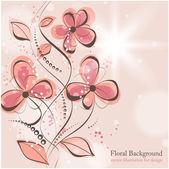 手描きとレトロなデザインのベクトル カードの挨拶の花、花の背景 — ストックベクタ
